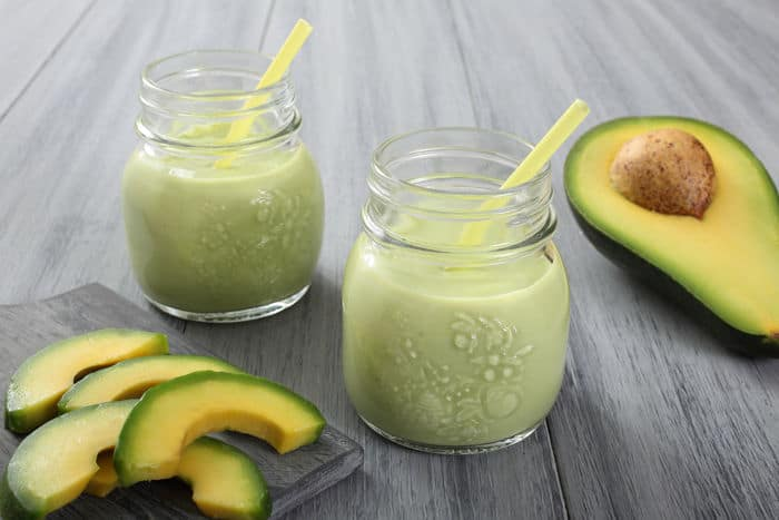 Image of avocado smoothie in two glasses