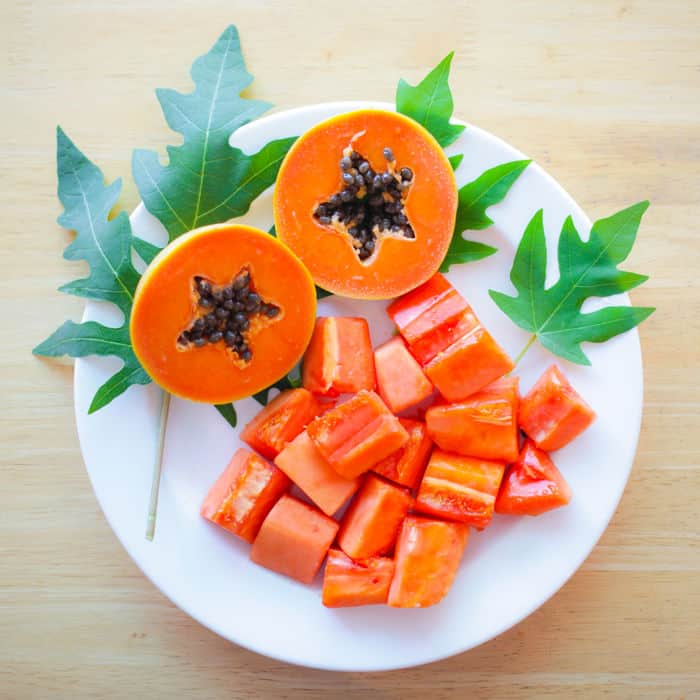 Picture of papaya cut out on a plate