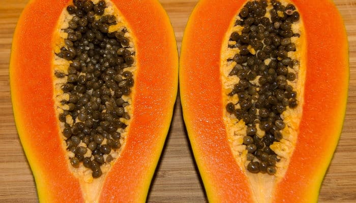 Picture of cut open papaya showing seeds