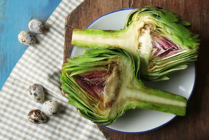 Image of artichoke halves on a plate