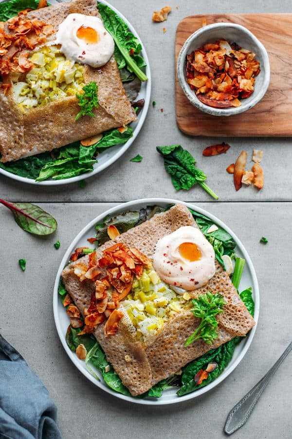 Buckwheat Crepes with Leek Fondue and Coconut Bacon