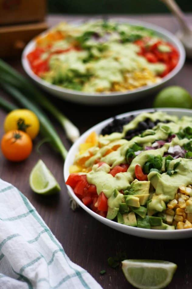 Mexican Chopped Salad with Avocado Dressing