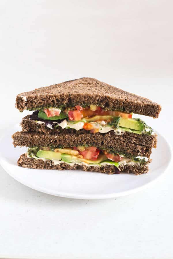Pesto, Hummus, Avocado Sandwich