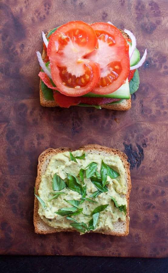 Veggie Sandwich with Basil Pesto Hummus