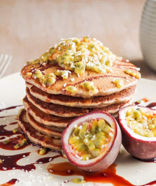 Banana Coconut Pancakes with Passion Fruit