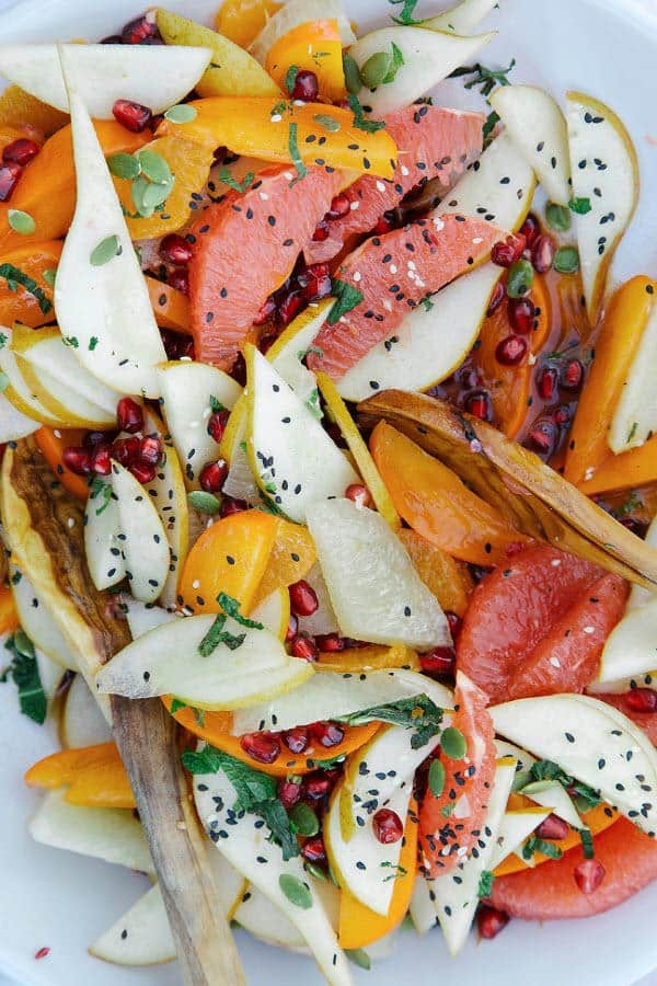 Festive Fruit Salad with Rosemary & Vanilla Rooibos Syrup