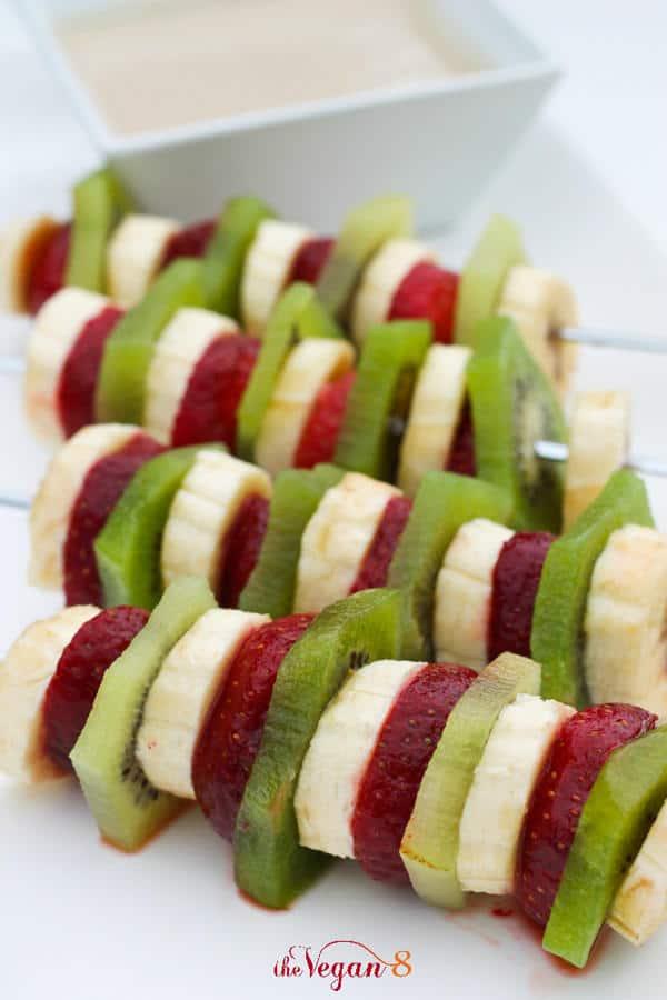 Fruit Salad Kabobs with Sweet Sunflower Balsamic Dip & Sunflower Chocolate Dip