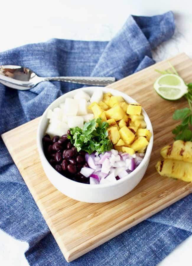 Grilled Pineapple, Black Bean and Jicama Salad