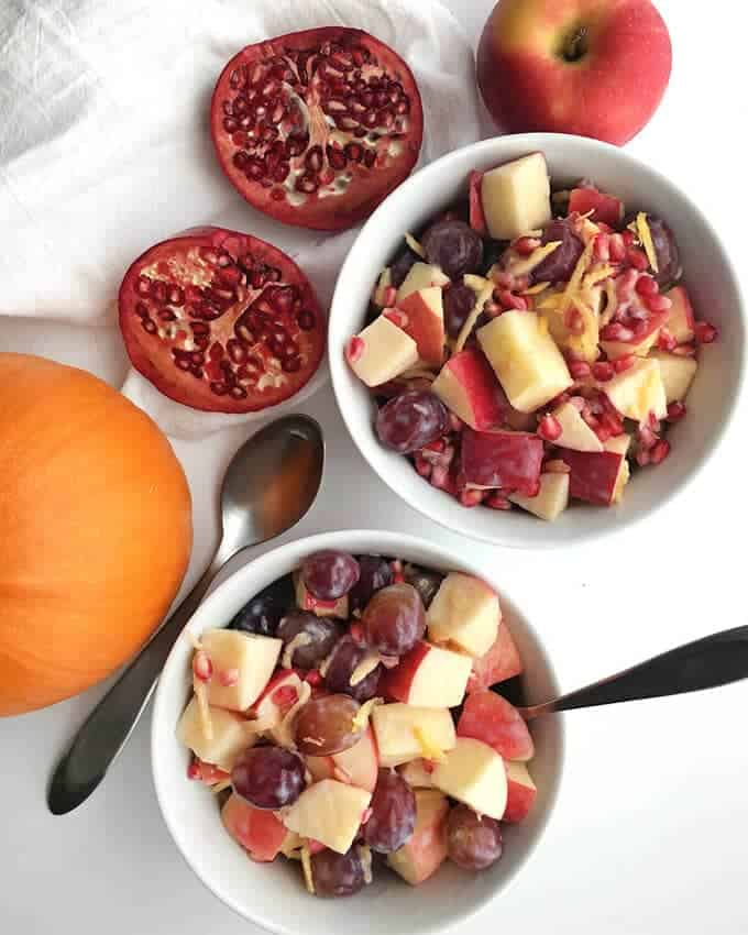 Healthy Fall Fruit Salad with Creamy Dressing