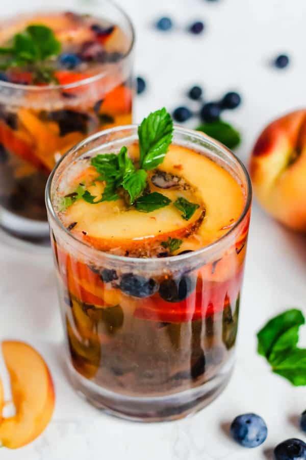 Peach Blueberry Sangria Mocktails