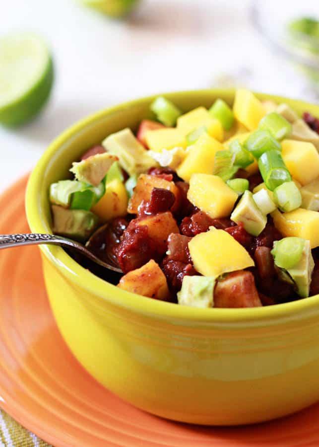 Slow Cooker Black Bean and Mango Caribbean Chili