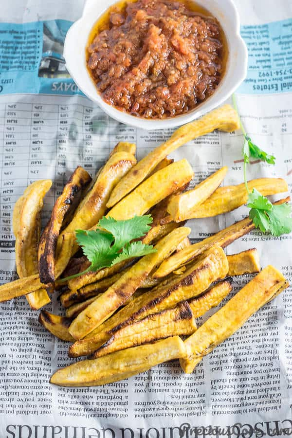 Healthy Baked Plantain Fries