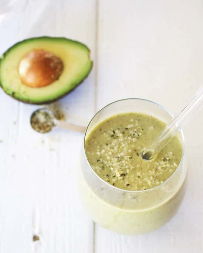 Hemp Protein Smoothie with Matcha and Avocado