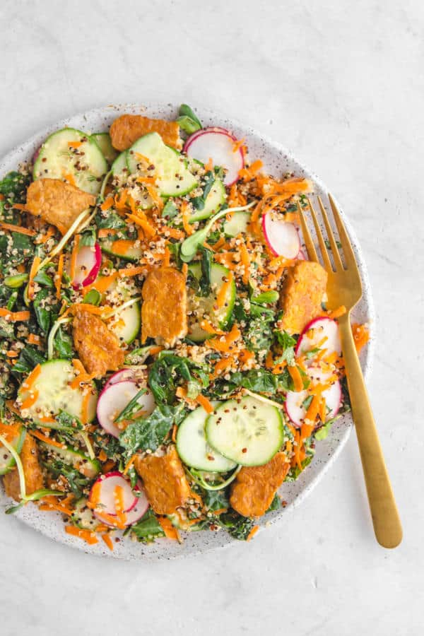 Kale and Quinoa Salad with Maple Mustard Tempeh