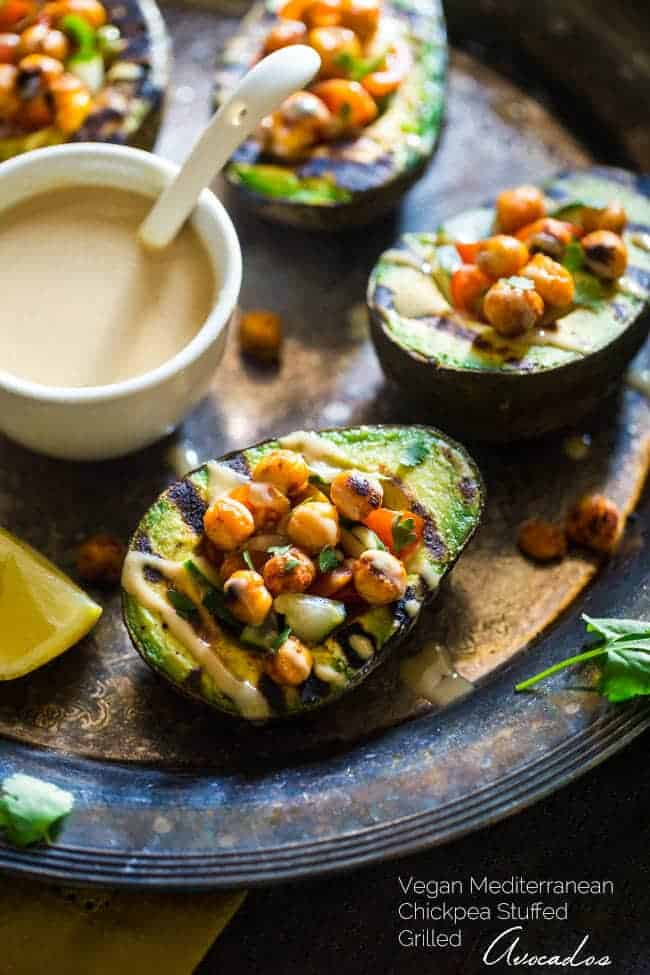 Mediterranean Grilled Avocado Stuffed with Chickpeas and Tahini