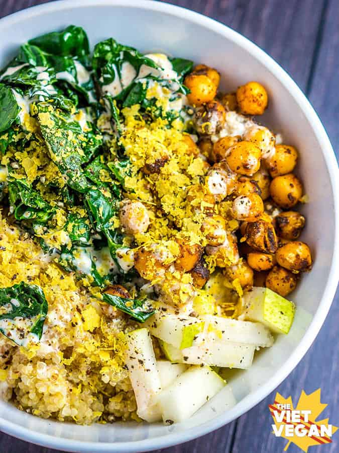 Quinoa Bowl with Chilli Spiced Chickpeas, Wilted Kale, Pear, and Garlic Chipotle Mayo
