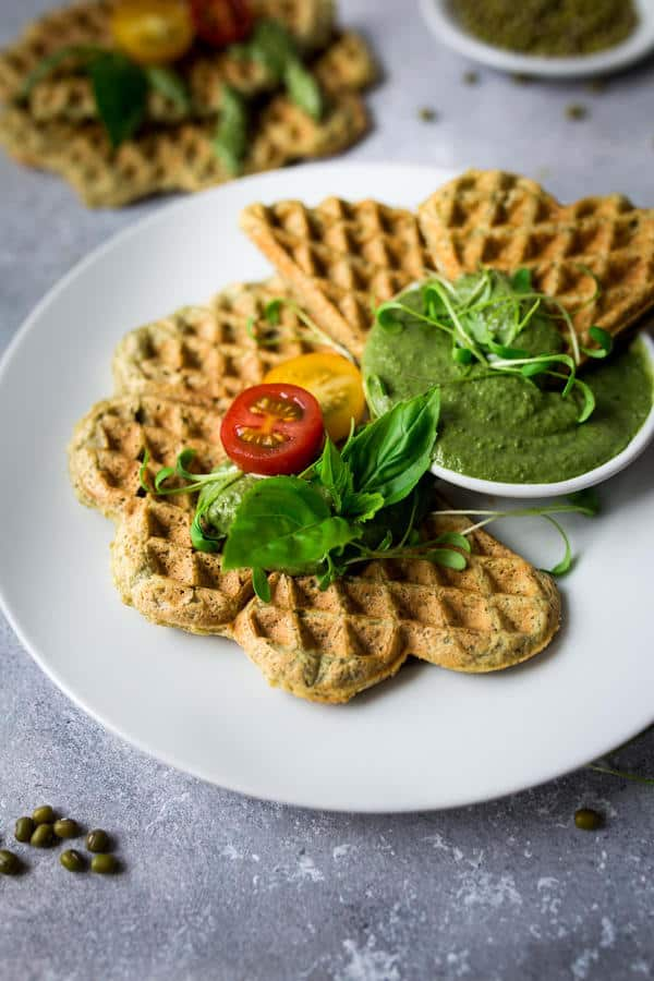 Savory Mungbean Waffles (High in Protein)