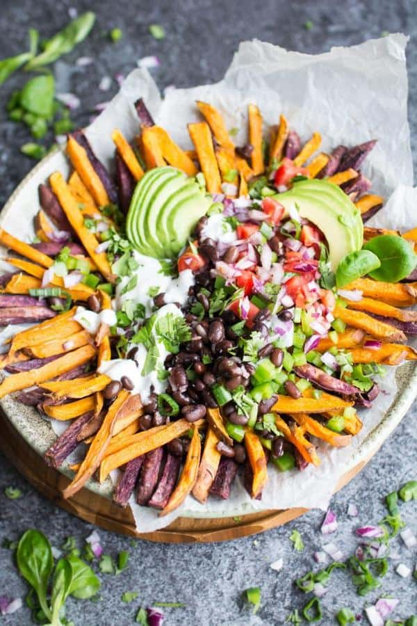 Mexican Style Loaded Baked Sweet Potato Fries with Vegan Aioli