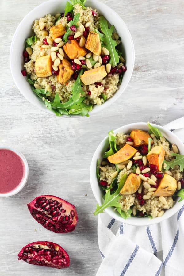 Millet Salad with Sweet Potato, Pomegranate and Rocket