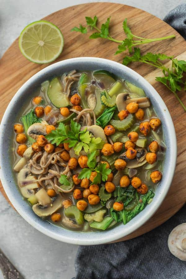 Noodle Soup with Roasted Chickpeas