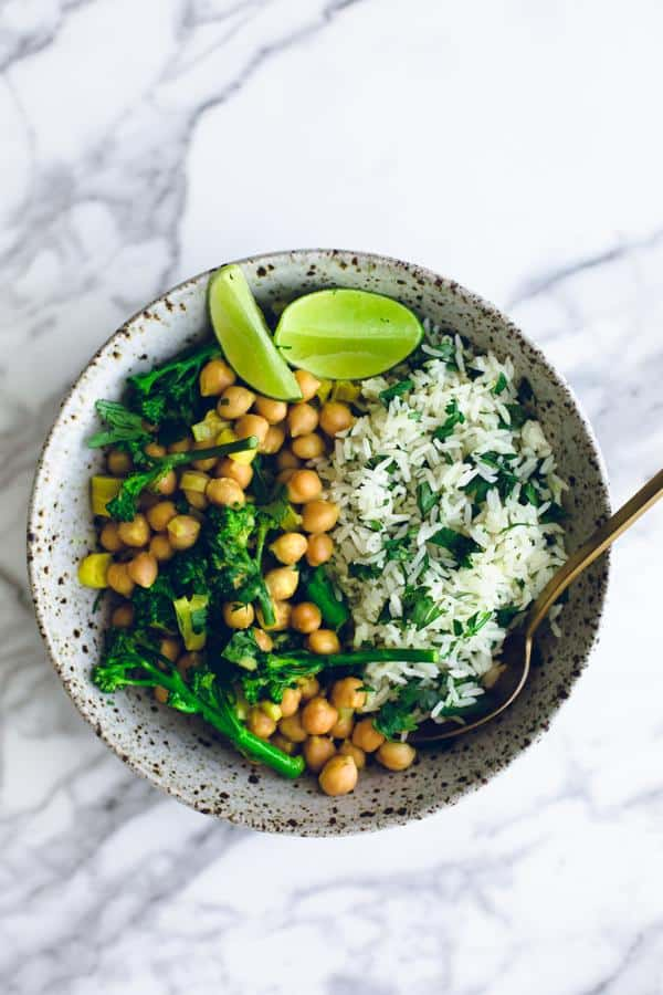 Turmeric Chickpea Curry with Cilantro Lime Rice