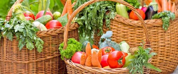 Baskets of seasonal produce