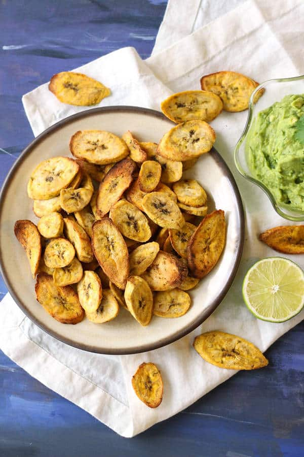 Air Fryer Plantain Chips with Creamy Guacamole