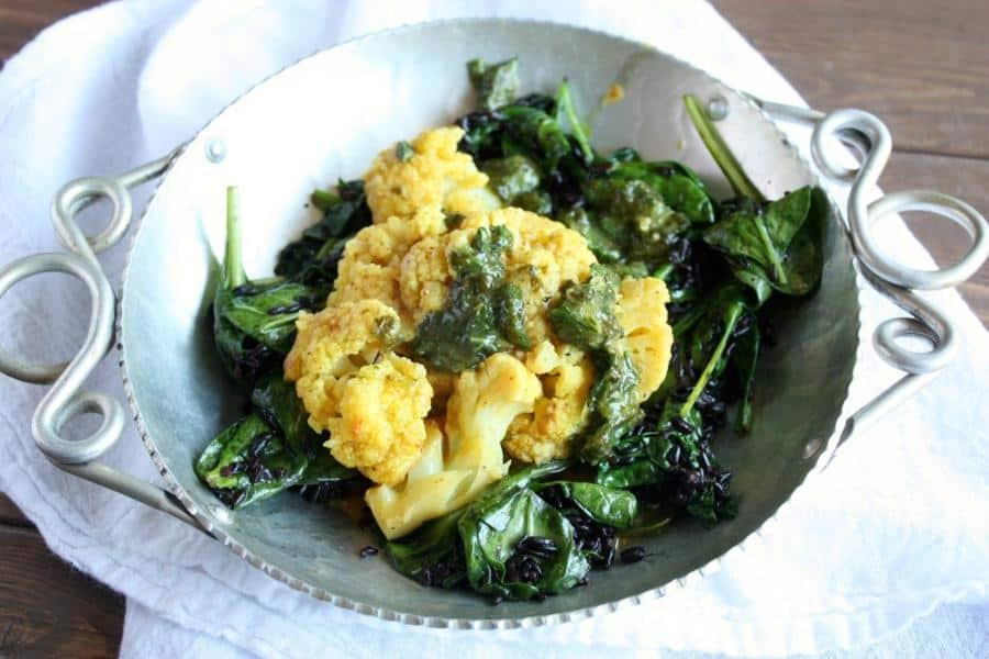 Braised Tandoori Cauliflower with Spinach Rice & Cilantro-Mint Chutney