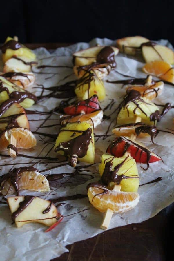 Fruit Kebabs with Chocolate