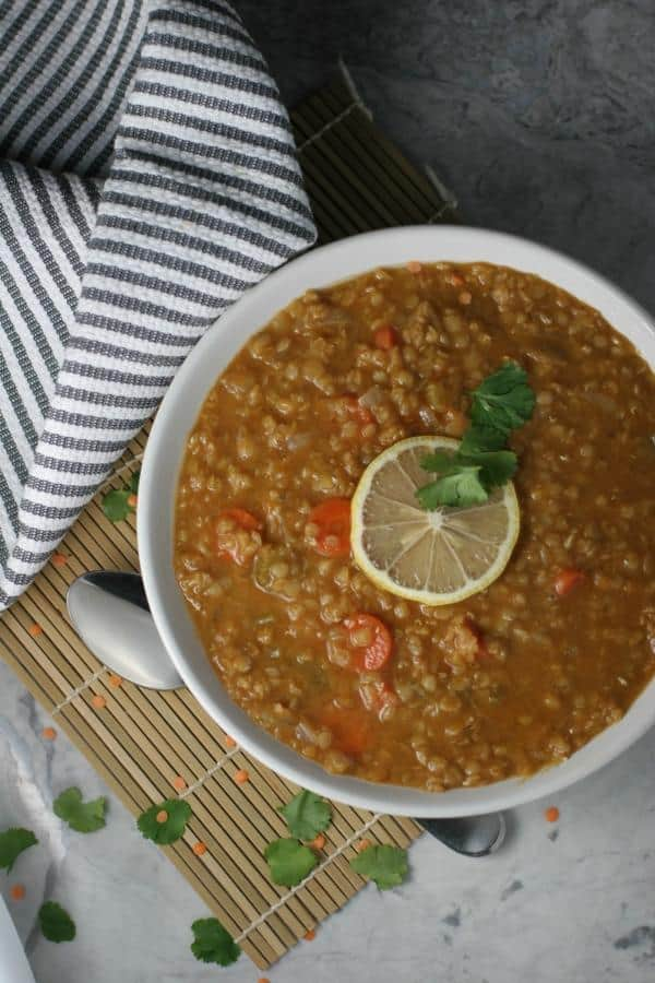 Lemon Coconut Lentil Soup