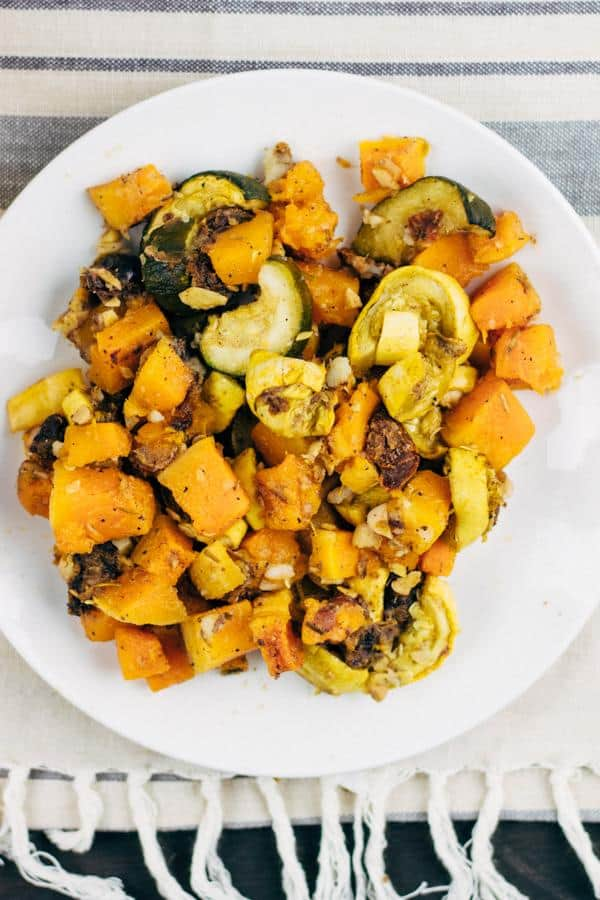 Roasted Butternut Squash with Zucchini and Rosemary