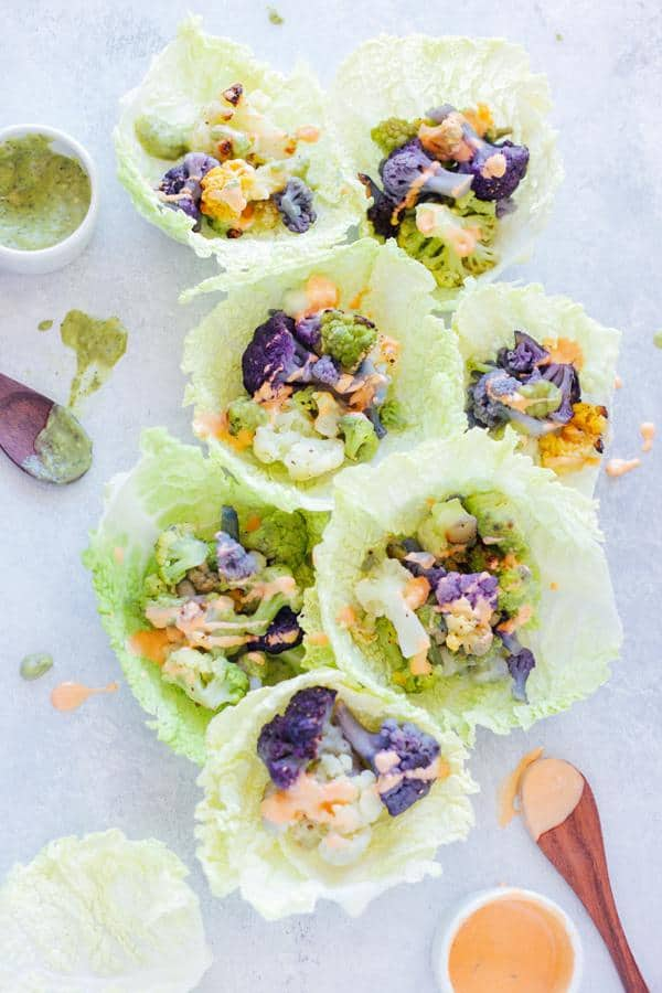 Roasted Cauliflower Cabbage Wraps