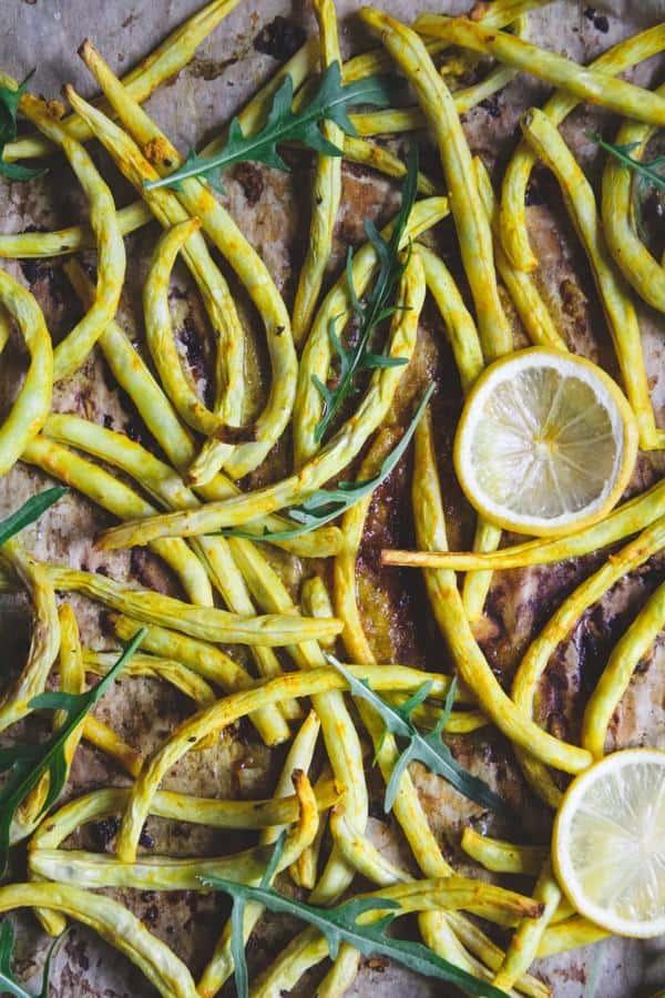 Roasted Wax Beans with Arugula and Lemon