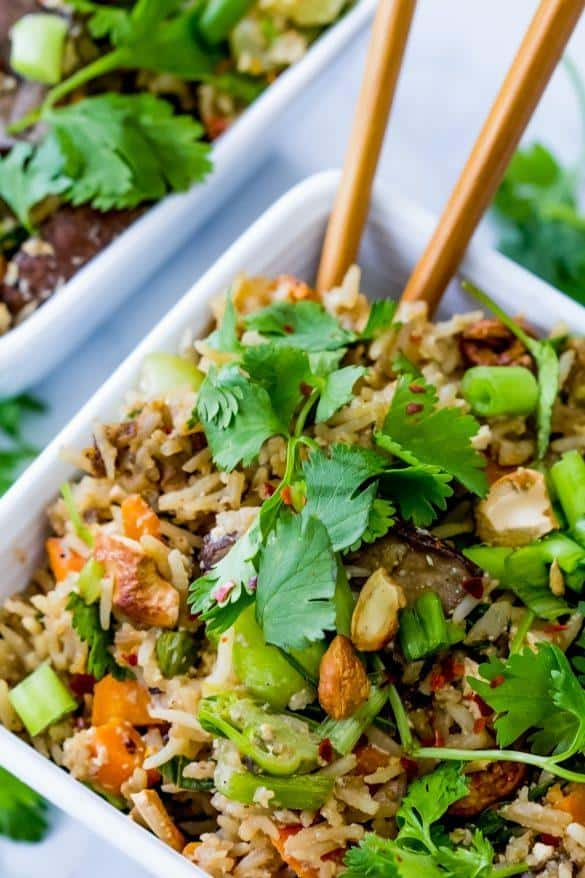 Fried Rice with Cashews and Portobello Steaks