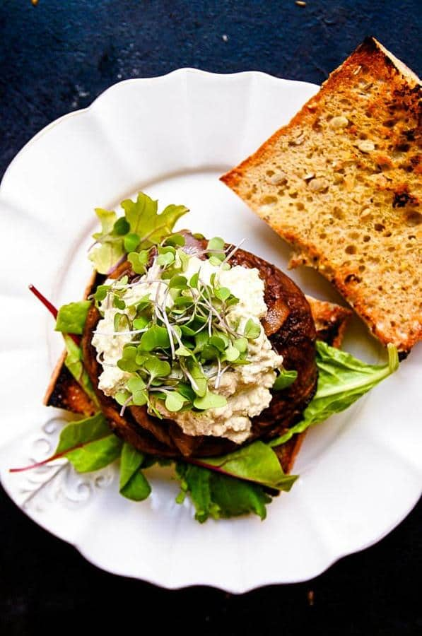 Juicy Portobello Burgers with Vegan Blue Cheese and Caramelized Onions