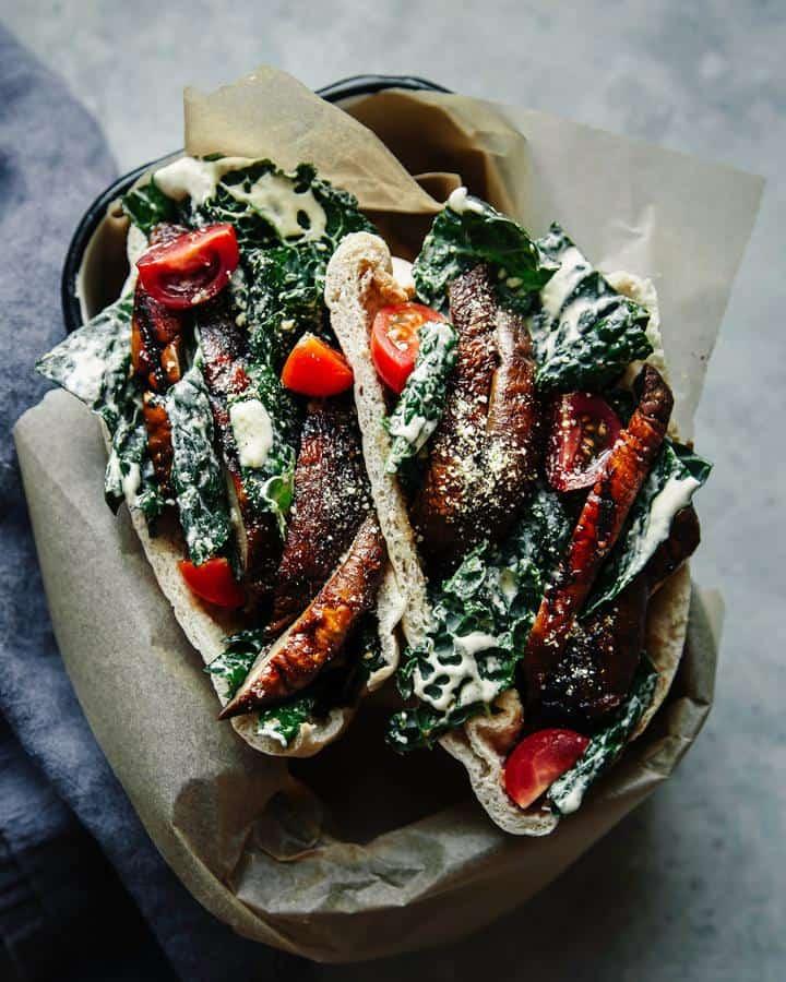 Miso Grilled Portobello and Kale Caesar Pitas