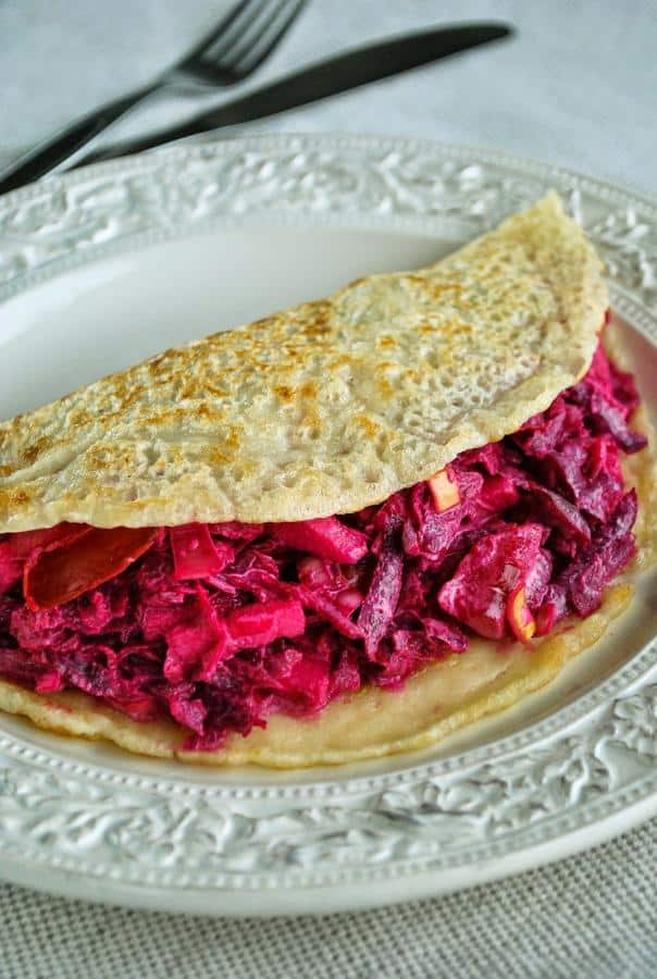 Pancakes with Crunchy and Creamy Beet Salad