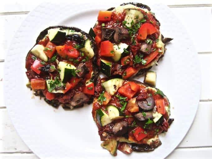 Vegan Portobello Pizza with Basil Cheese