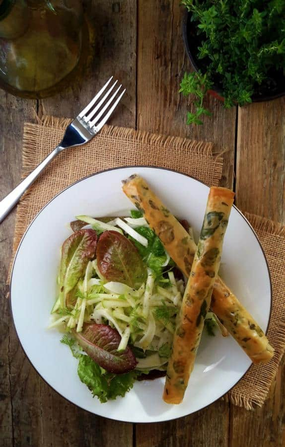 Apple and Fennel Salad With Phyllo Tapenade Cigars