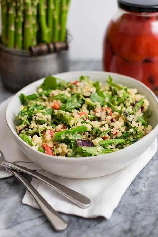 Asparagus Salad with Creamy Tahini Salad Dressing