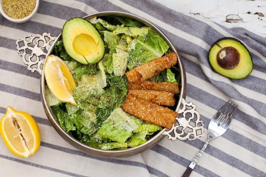Caesar Salad with Tempeh Bacon and Hemp Seed Parmesan