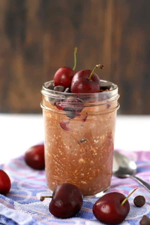 Chocolate Overnight Oats With Cherries