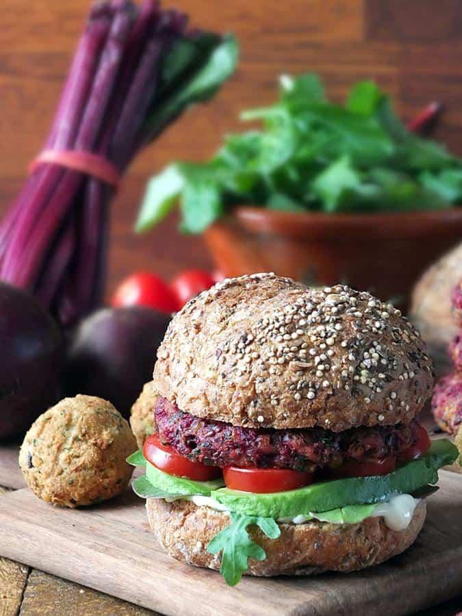 Easy 6-Ingredient Beetroot Falafel Burgers