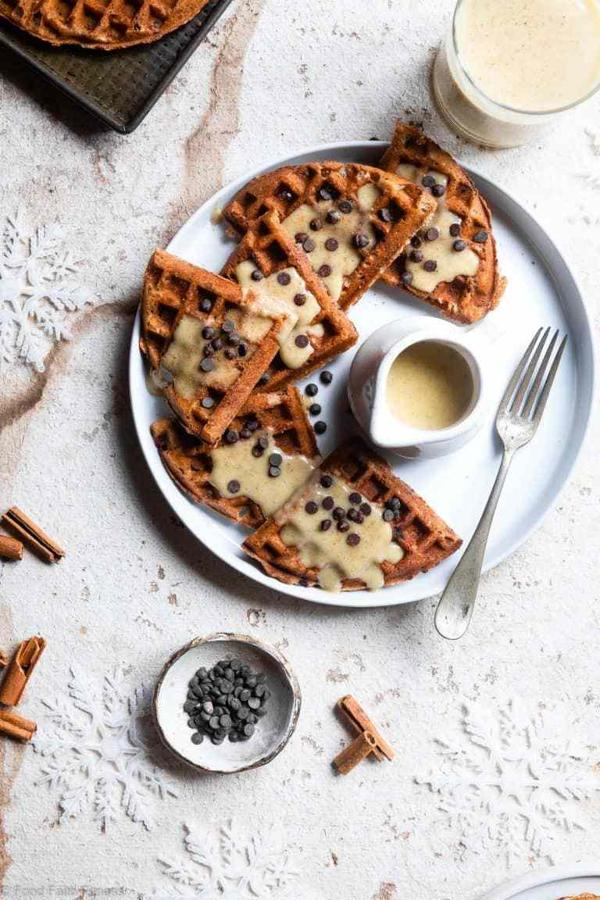 Eggnog Waffles with Chocolate Chips