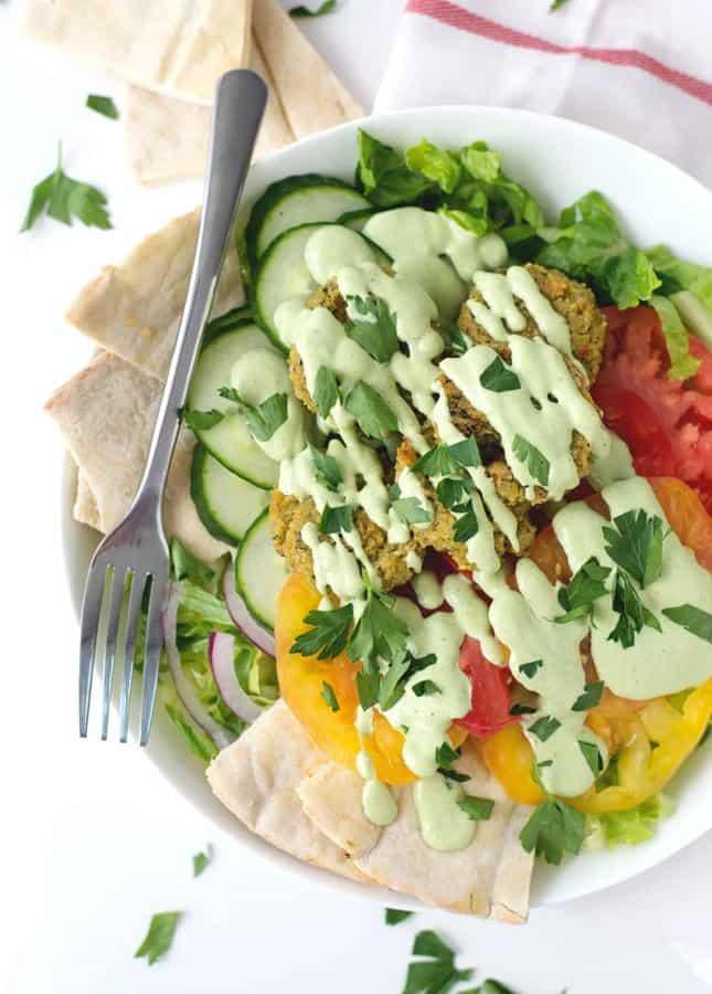 Falafel Salad with Tahini Parsley Dressing