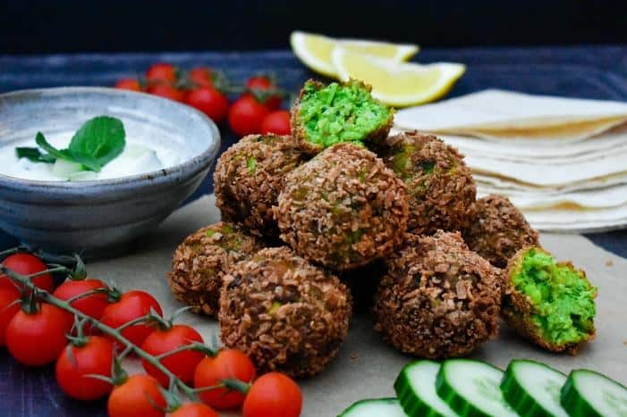 Green Edamame and Pea Falafel with a Yoghurt, Cucumber and Mint Dip