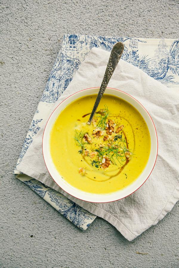 Leek, Fennel, Apple and Walnut Soup with Turmeric