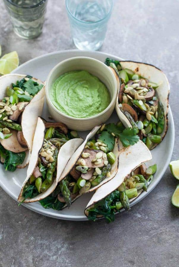 Mushroom Asparagus Tacos with Jalapeno Cashew Crema