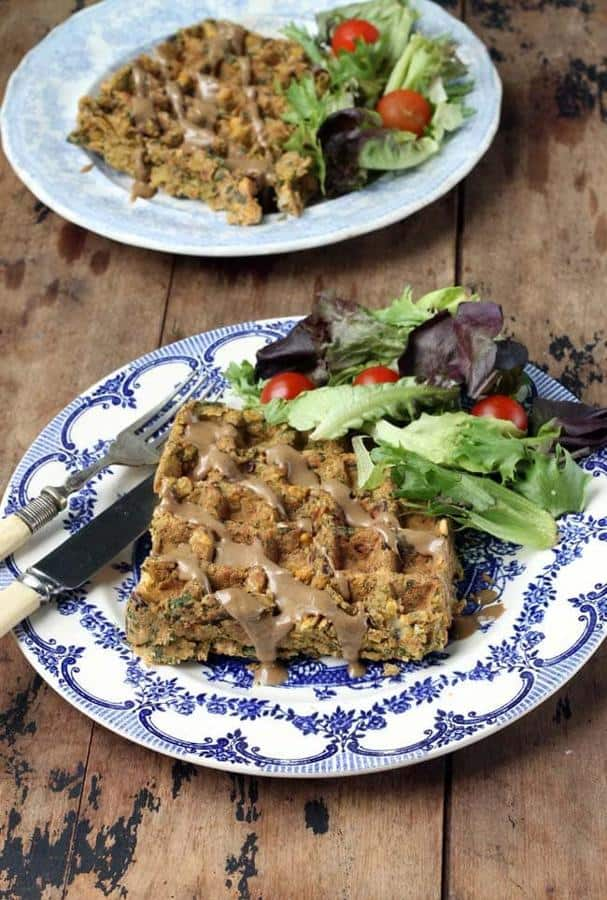 Oat and Chickpea Falafel Waffles