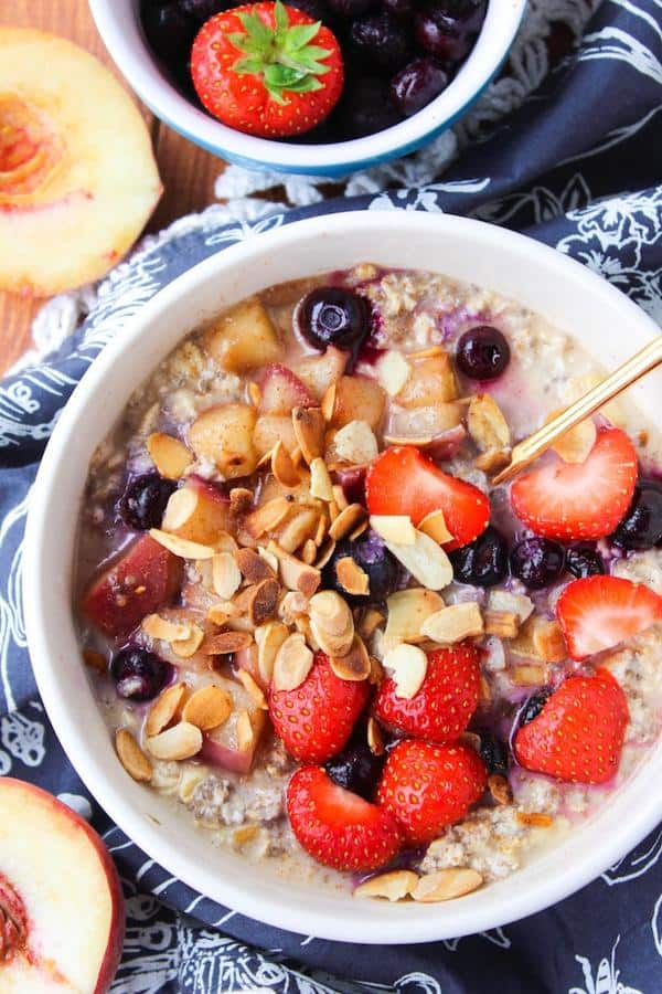 Peach and Summer Berry Overnight Oats With Chia Seeds